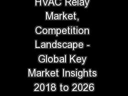 HVAC Relay Market, Competition Landscape - Global Key Market Insights 2018 to 2026
