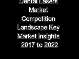 Dental Lasers Market Competition Landscape Key Market insights 2017 to 2022