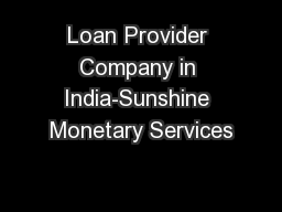 Loan Provider Company in India-Sunshine Monetary Services
