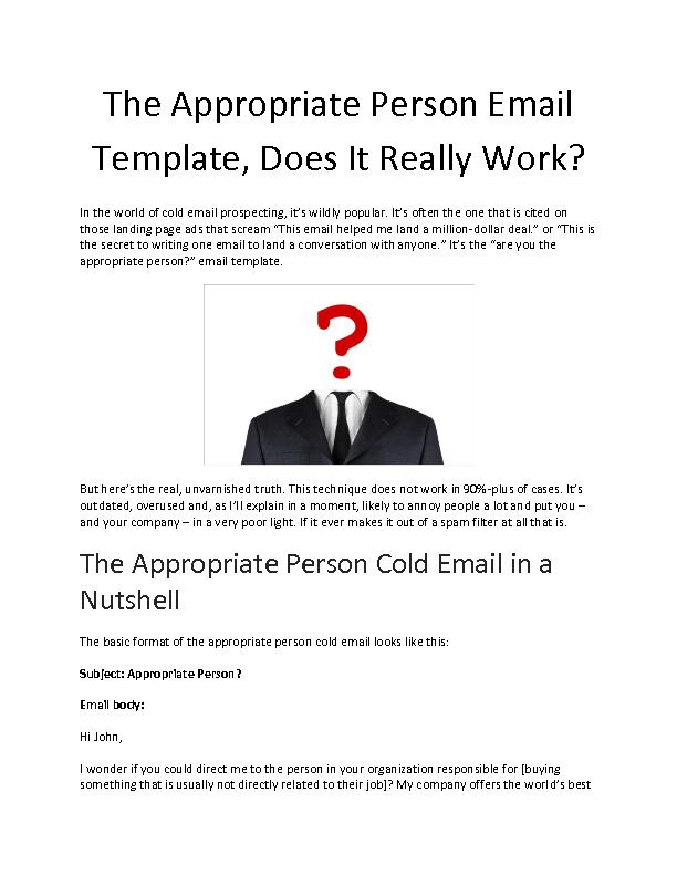 The Appropriate Person Email Template, Does It Really Work - Deepak Shukla