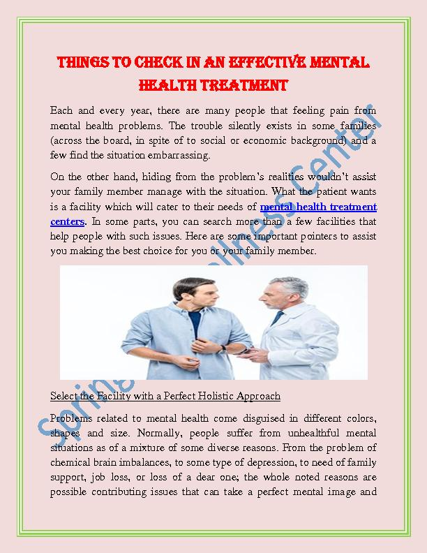 Things to Check in An Effective Mental Health Treatment