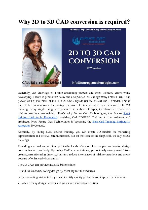 Why 2D to 3D CAD conversion is required?
