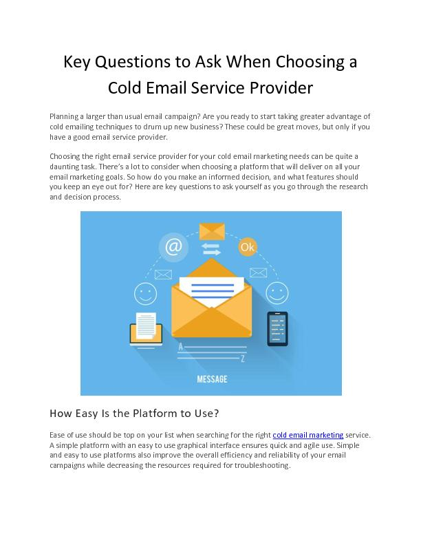 Key Questions to Ask When Choosing a Cold Email Service Provider