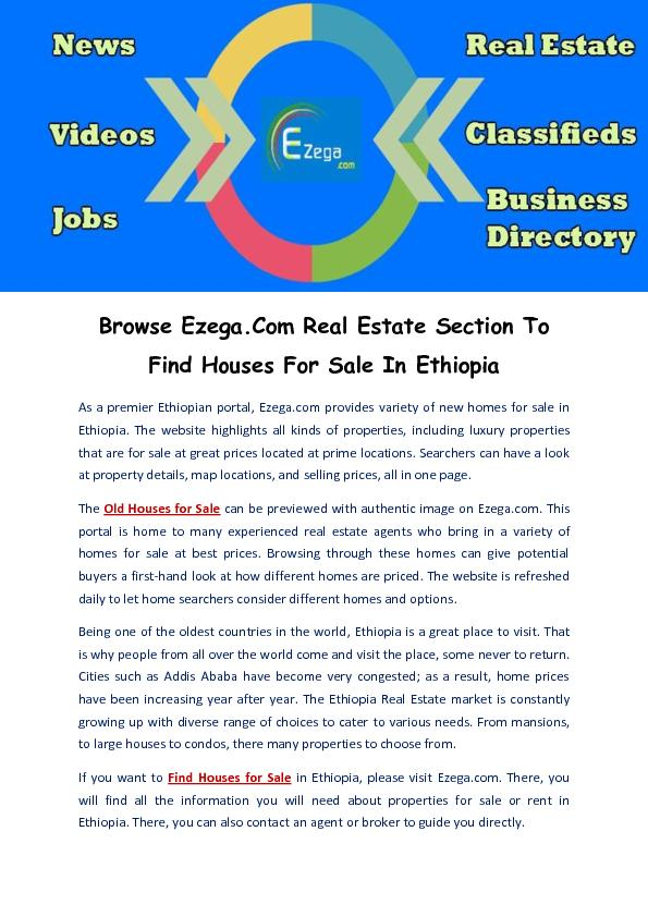 Find Houses For Sale In Ethiopia PDF document - DocSlides
