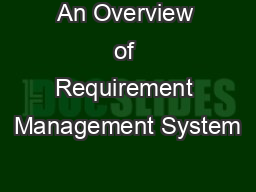 An Overview of Requirement Management System