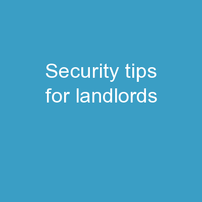 Security Tips For Landlords