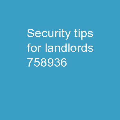 Security Tips For Landlords PowerPoint PPT Presentation