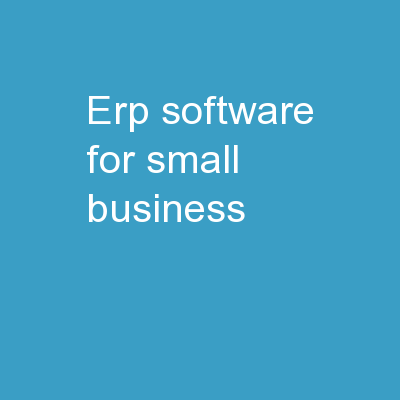 ERP software for small business