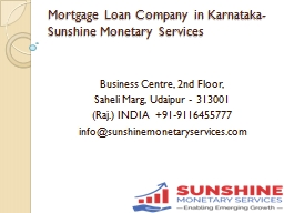 Mortgage Loan Company in Karnataka-Sunshine Monetary Services