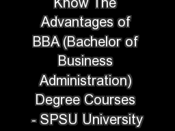 Know The Advantages of BBA (Bachelor of Business Administration) Degree Courses - SPSU University