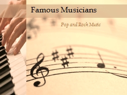 Famous Musicians Pop and Rock Music