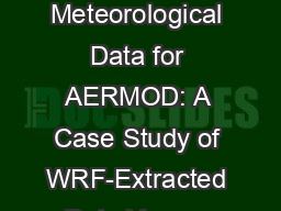 Representative Meteorological Data for AERMOD: A Case Study of WRF-Extracted Data Versus Nearby Air