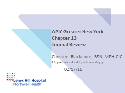 APIC Greater New York Chapter 13