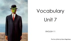 Vocabulary  Unit 7 ENGLISH 11 PowerPoint PPT Presentation