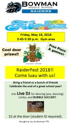 Friday, May 18, 2018 3:45-5:30 p.m.  Gym area