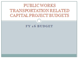 Capital Projects  fiscal 2016