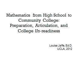 Mathematics from High School to Community College: