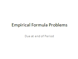Empirical Formula Problems