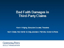 Bad Faith Damages in  Third-Party Claims