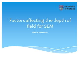 F actors  affecting the depth of field for SEM