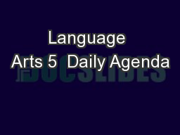 Language Arts 5  Daily Agenda