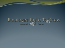 Employee Right To Know Warroad School District