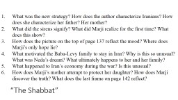 """The Shabbat"" What was the new strategy? How does the author characterize Iranians? How does sh"
