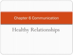 Healthy Relationships Chapter 6 Communication