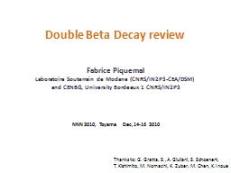 Double Beta  Decay   review PowerPoint PPT Presentation