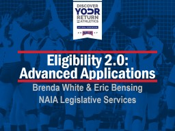 Eligibility 2.0:  Advanced Applications