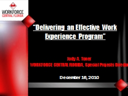 """""""Delivering an Effective Work Experience Program"""""""