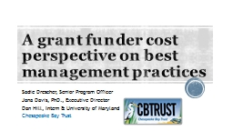 A grant funder cost perspective on best management practices