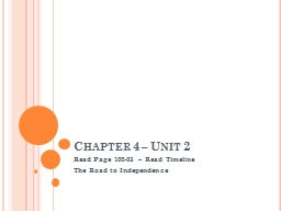 Chapter 4 – Unit 2 Read Page 102-03 – Read Timeline