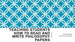 Teaching Students How to Read and Write Philosophy
