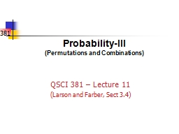 Probability-III (Permutations and Combinations)