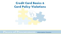 Credit Card Basics & Card Policy Violations