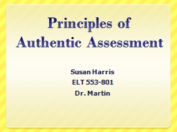 Principles of Authentic Assessment