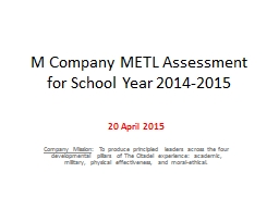 M Company METL Assessment for School Year 2014-2015