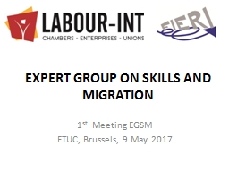EXPERT GROUP ON SKILLS AND MIGRATION