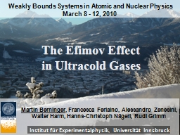 The Efimov Effect  in Ultracold Gases