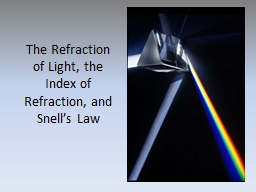 The Refraction of Light, the Index of Refraction, and Snell's Law