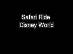 Safari Ride Disney World