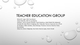 TEACHER EDUCATION GROUP 3
