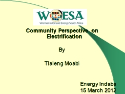 Community Perspective on Electrification