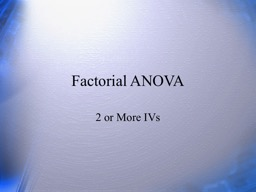 Factorial ANOVA 2 or More IVs