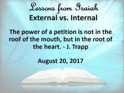Lessons from Isaiah   External vs. Internal