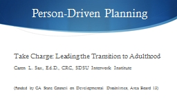 Person-Driven Planning Take Charge: Leading the Transition to Adulthood
