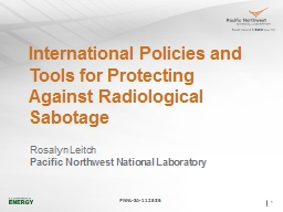 International Policies and Tools for Protecting Against Radiological Sabotage