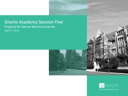 Grants Academy Session Five