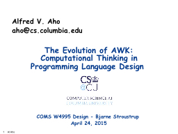 The Evolution of AWK: Computational Thinking PowerPoint Presentation, PPT - DocSlides
